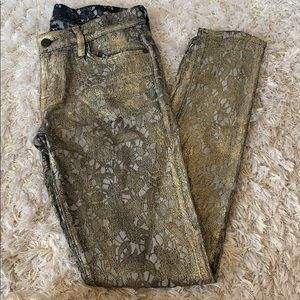 7 for all Mankind Gold Foil Jeans